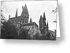 Hogwarts Castle Black And White Greeting Card