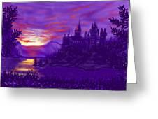 Hogwarts In Purple Greeting Card