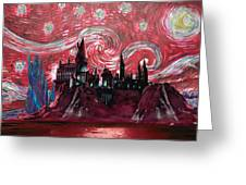 Hogwarts Starry Night In Red Greeting Card