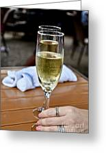 Holding Champagne Glass In Hand Greeting Card