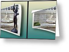 Holding Up My End - Gently Cross Your Eyes And Focus On The Middle Image Greeting Card