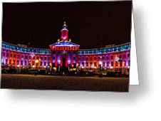 Holiday Light Panorama Of The Denver City And County Building Greeting Card