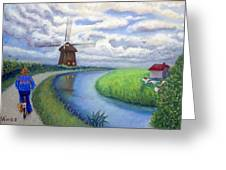 Holland Windmill Bike Path Greeting Card