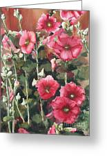Hollyhocks Along The Fence Greeting Card