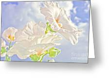 Hollyhocks And Sky Greeting Card
