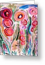 Hollyhocks Of The Garden Greeting Card by Mary Carol Williams
