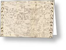 Hollywood Map To The Stars 1937 Greeting Card
