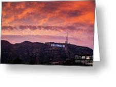 Hollywood Sign At Sunset Greeting Card