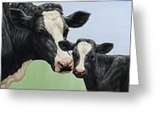 Holstein Cow And Calf Greeting Card by Crista Forest