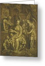 Holy Family With Angels Greeting Card