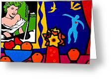 Homage To Lichtenstein And Matisse Greeting Card