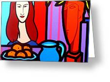 Homage To Modigliani II Greeting Card by John  Nolan