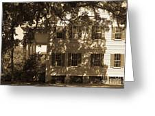 Mcleod Plantation Home In Black And White Greeting Card