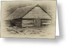Home In The Woods Sepia Greeting Card