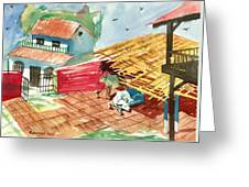 A Back Yard With A Cow Shade And A Cow And A Calf  Greeting Card