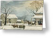 Home To Home To Thanksgiving, 1867 Greeting Card