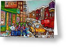 Home Town Painting St Viateur Bagel Street Scene Coca Cola Truck Montreal 375 Carole Spandau Art     Greeting Card