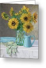 Homegrown - Sunflowers In A Mason Jar With Gardening Gloves And Blue Cream Pitcher Greeting Card