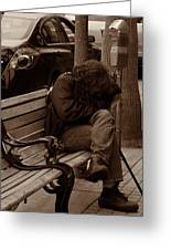 Homeless - Sepia Greeting Card