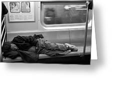 Homeless In Motion In Black And White Greeting Card
