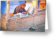 Homeless Man In India Greeting Card