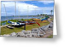 Homemade Outriggers Canoes On The Indian River Lagoon In Florida Greeting Card