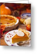 Homemade Pumpkin Pie On A Rustic Table With Autumn Decorations Greeting Card