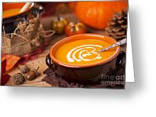 Homemade Pumpkin Soup On A Rustic Table With Autumn Decorations Greeting Card