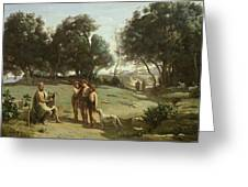 Homer And The Shepherds In A Landscape Greeting Card by Jean Baptiste Camille Corot