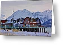 Homer Spit Board Walk Winter Moments Greeting Card