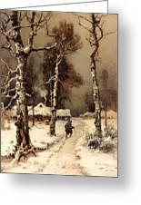 Homeward Through The Winter Forest Greeting Card
