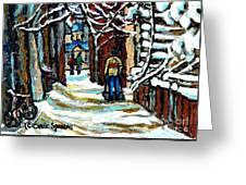 Buy Original Paintings Montreal Petits Formats A Vendre Scenes Man Shovelling Snow Winter Stairs Greeting Card