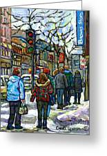 Promenade Au Centre Ville Rue Ste Catherine Montreal Winter Street Scene Small Paintings  For Sale Greeting Card