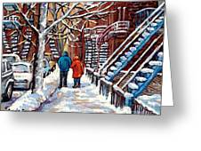 Promenade En Hiver Winter Walk Scenes D'hiver Montreal Street Scene In Winter Greeting Card