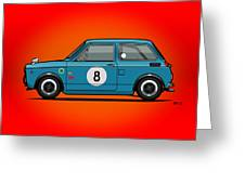 Honda N600 Blue Kei Race Car Greeting Card