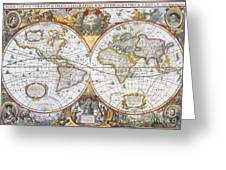 Hondius World Map, 1630 Greeting Card by Photo Researchers