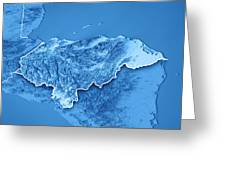 Honduras Country 3d Render Topographic Map Blue Border Greeting Card