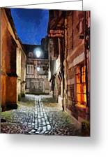 Honfleur Street At Night Greeting Card