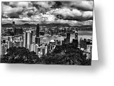 Hong Kong In Black And White Greeting Card