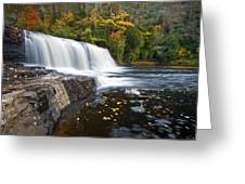 Hooker Falls In Autumn - Fall Foliage In Dupont State Forest Greeting Card