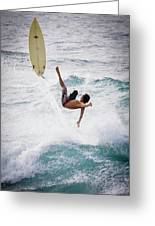 Hookipa Maui Flying Surfer Greeting Card by Denis Dore