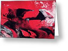 Hope - Red Black And White Abstract Art Painting Greeting Card