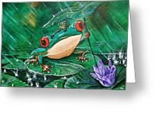 Hoppin' In The Rain Greeting Card