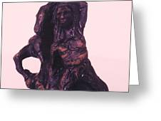 Hores And Man Sculpture 1991 Greeting Card