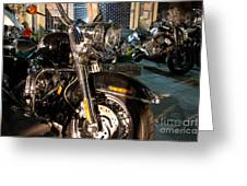 Horizontal Front View Of Fat Cruiser Motorcycle With Chrome Fork Greeting Card
