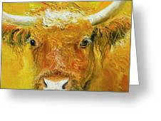 Horned Cow Painting Greeting Card