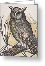 Horned Owl And Pine Greeting Card