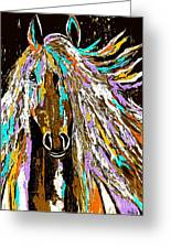 Horse Abstract Brown And Blue Greeting Card