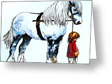 Horse And Groom Greeting Card
