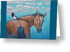 Horse And Magpie Greeting Card